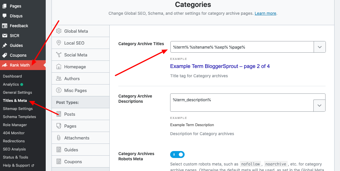 remove the Word Archive from Category & Tags title